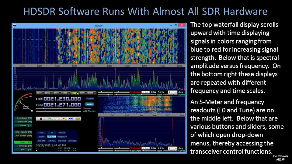 HDSDR Software Runs With Almost All SDR Hardware