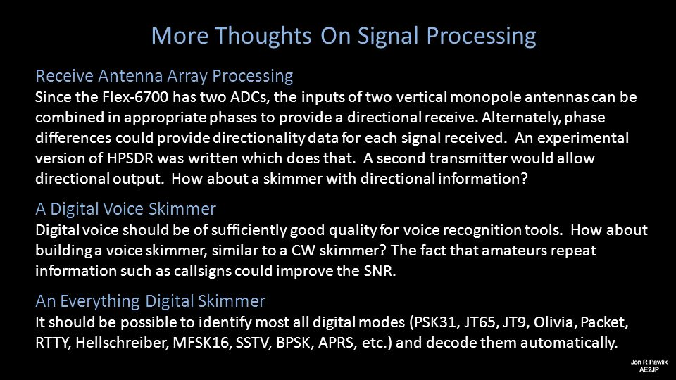 More Thoughts On Signal Processing