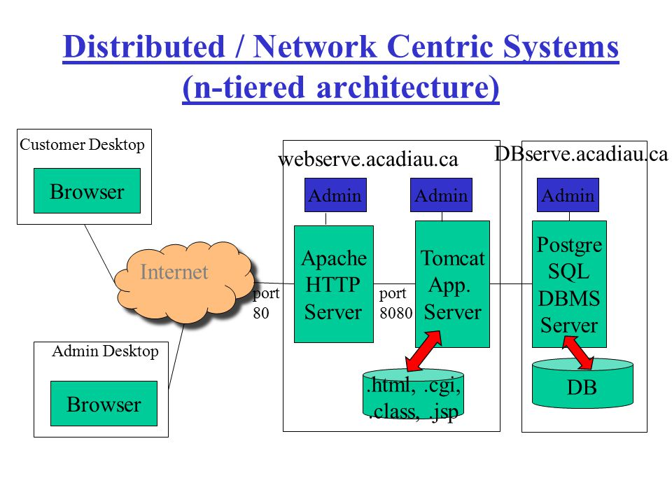 Distributed / Network Centric Systems (n-tiered architecture)