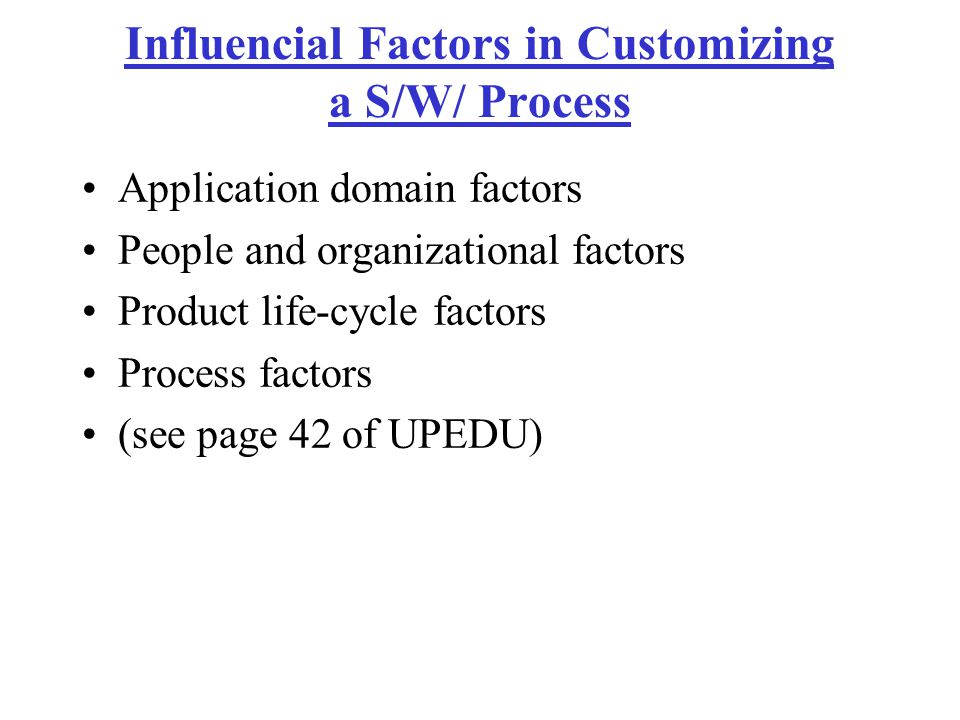 Influencial Factors in Customizing a S/W/ Process
