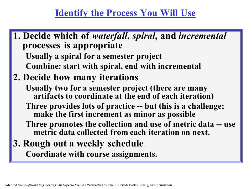 Identify the Process You Will Use