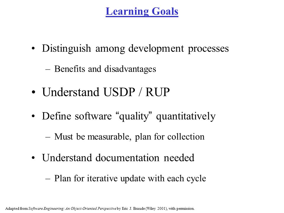 Understand USDP / RUP Learning Goals