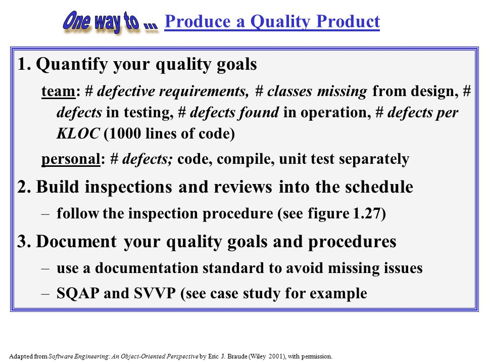 Produce a Quality Product