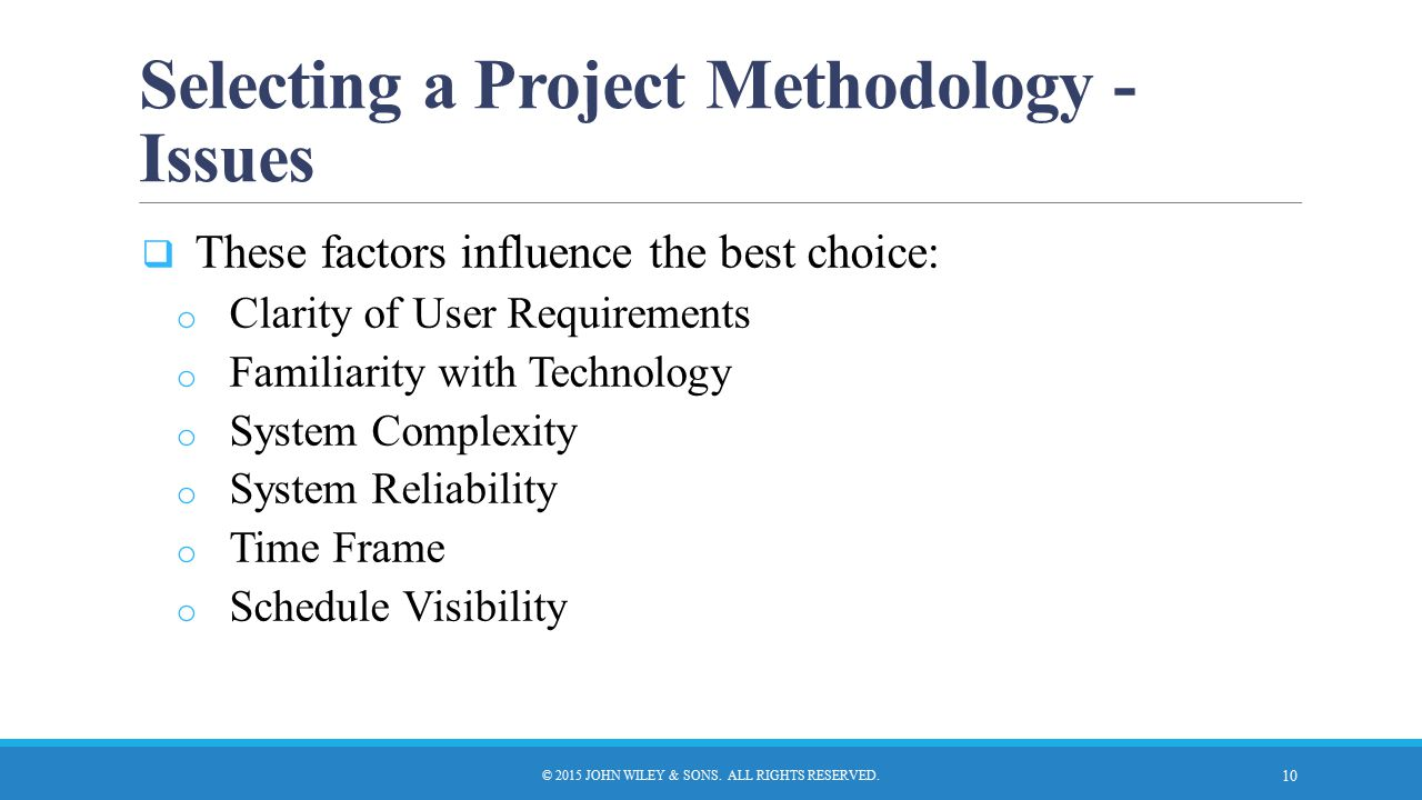 Selecting a Project Methodology - Issues