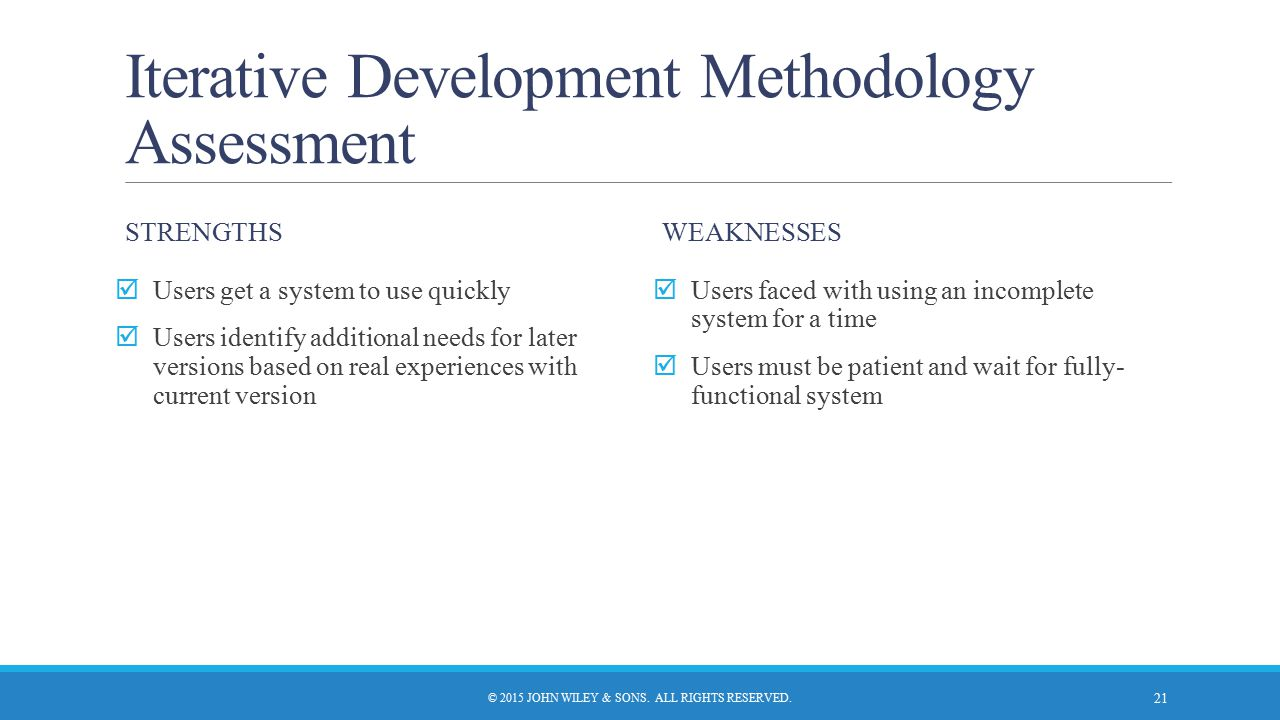 Iterative Development Methodology Assessment