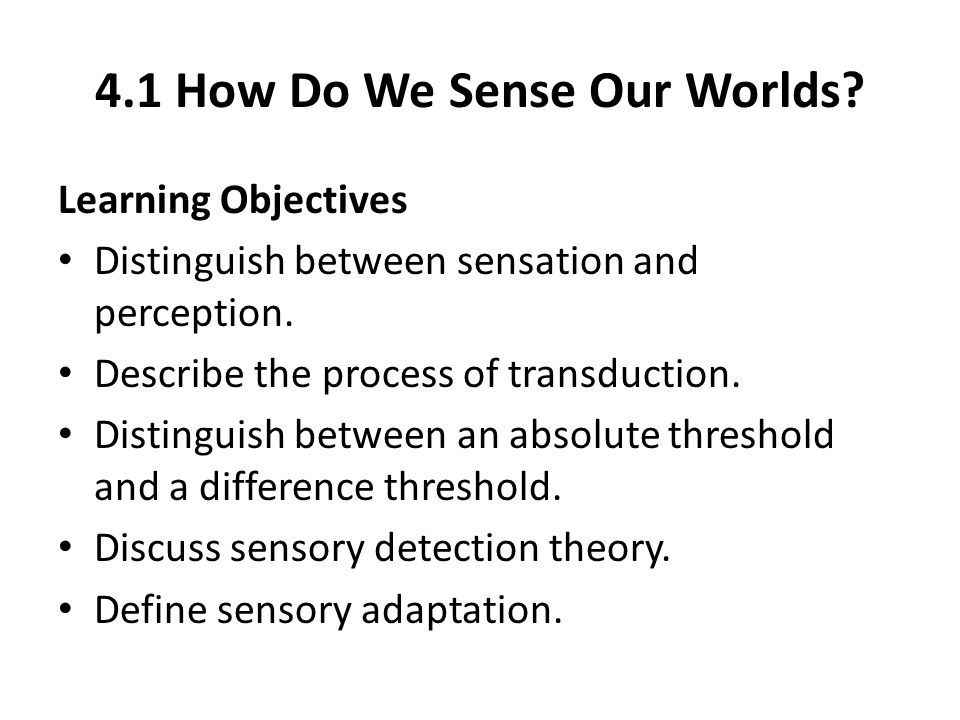 4.1 How Do We Sense Our Worlds