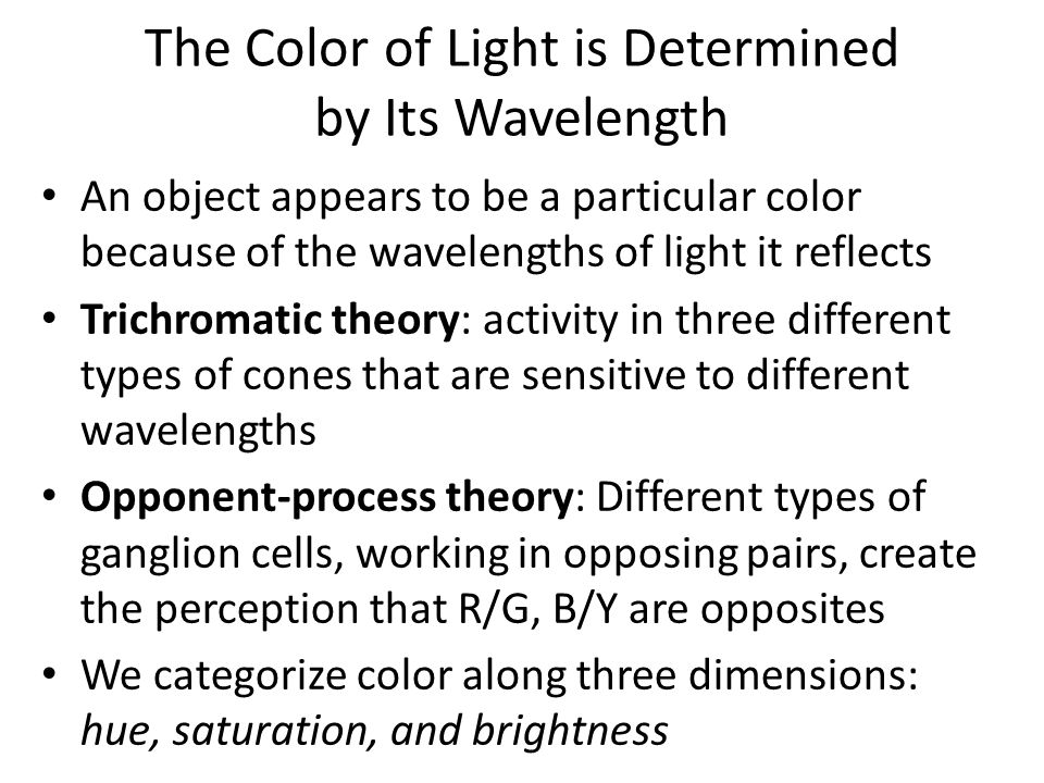 The Color of Light is Determined by Its Wavelength