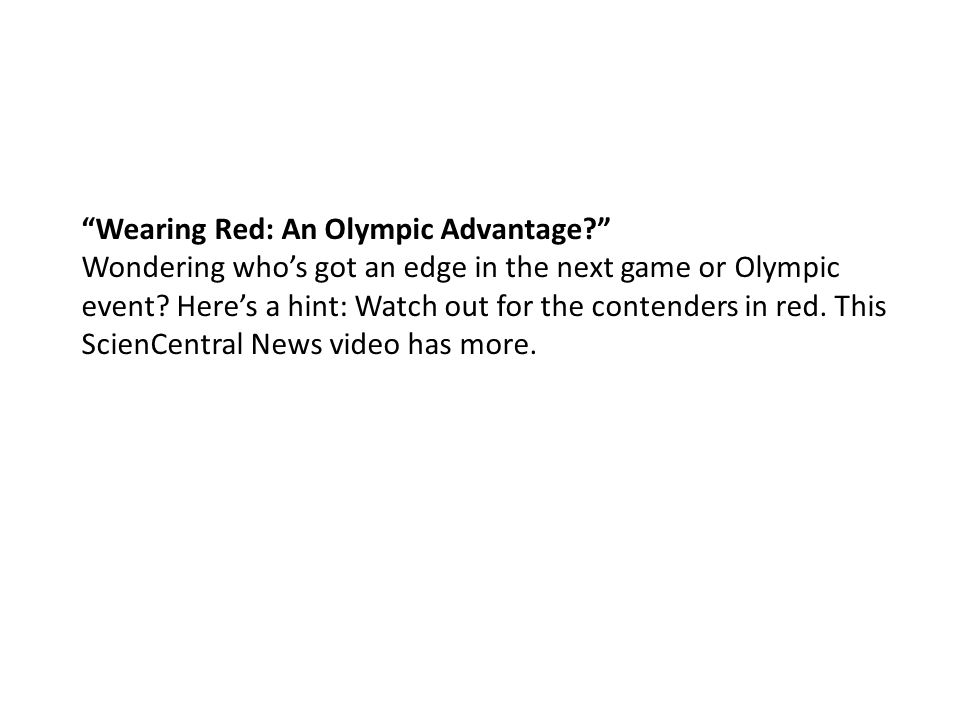 Wearing Red: An Olympic Advantage