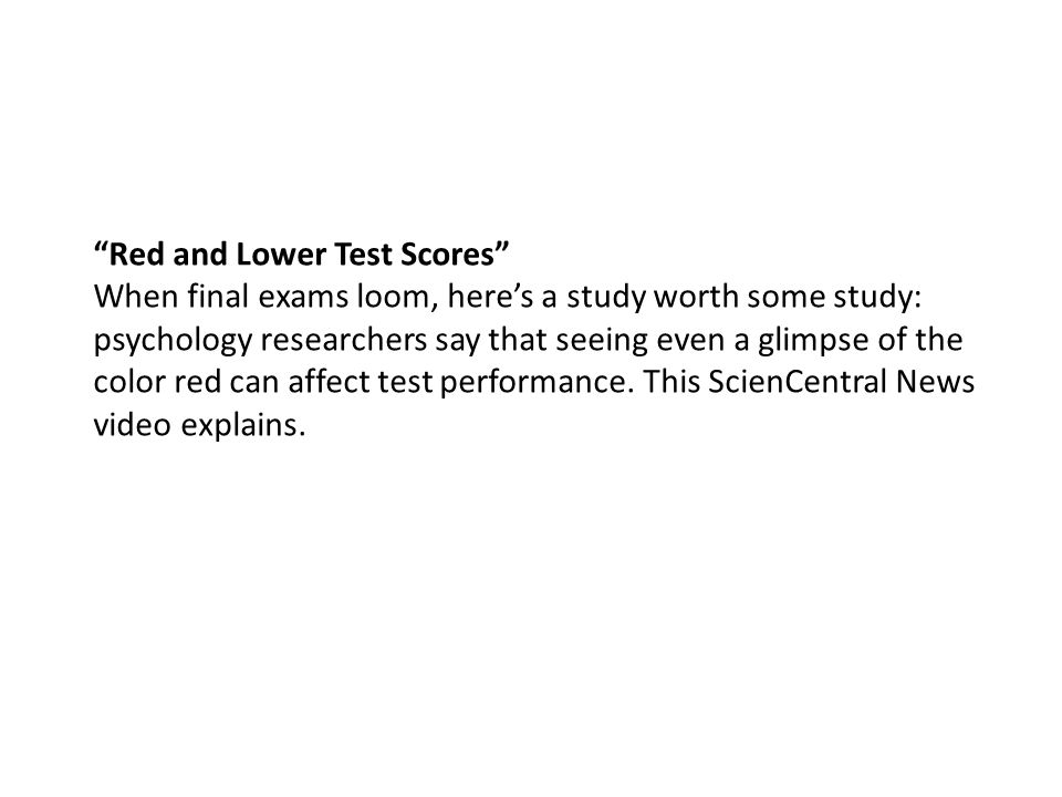 Red and Lower Test Scores