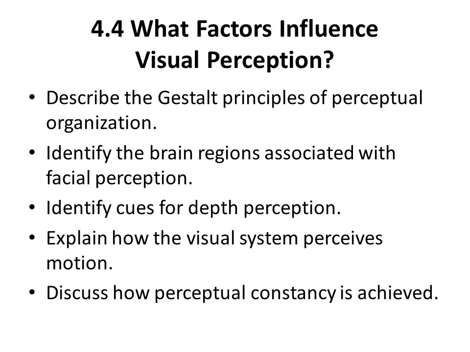 4.4 What Factors Influence Visual Perception