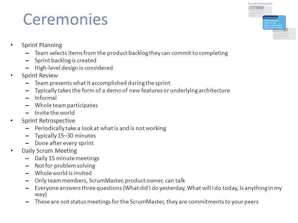 Ceremonies Sprint Planning Sprint Review Sprint Retrospective