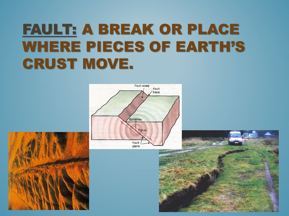 Fault: a break or place where pieces of Earth's crust move.