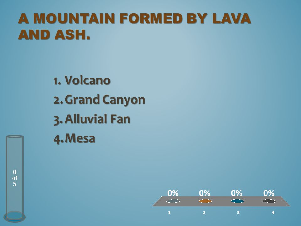 A mountain formed by lava and ash.