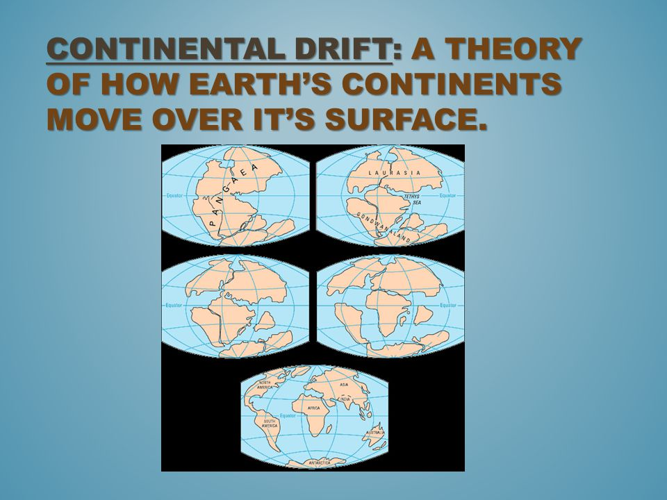 Continental Drift: A theory of how Earth's continents move over it's surface.