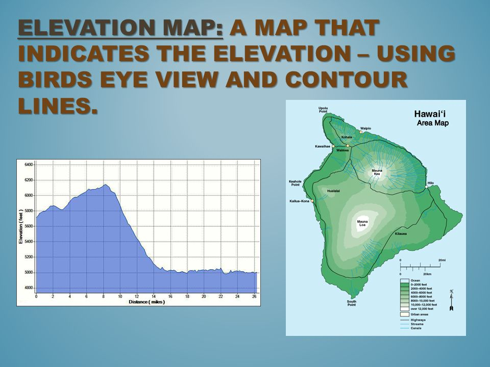 Elevation Map: A map that indicates the elevation – using birds eye view and contour lines.