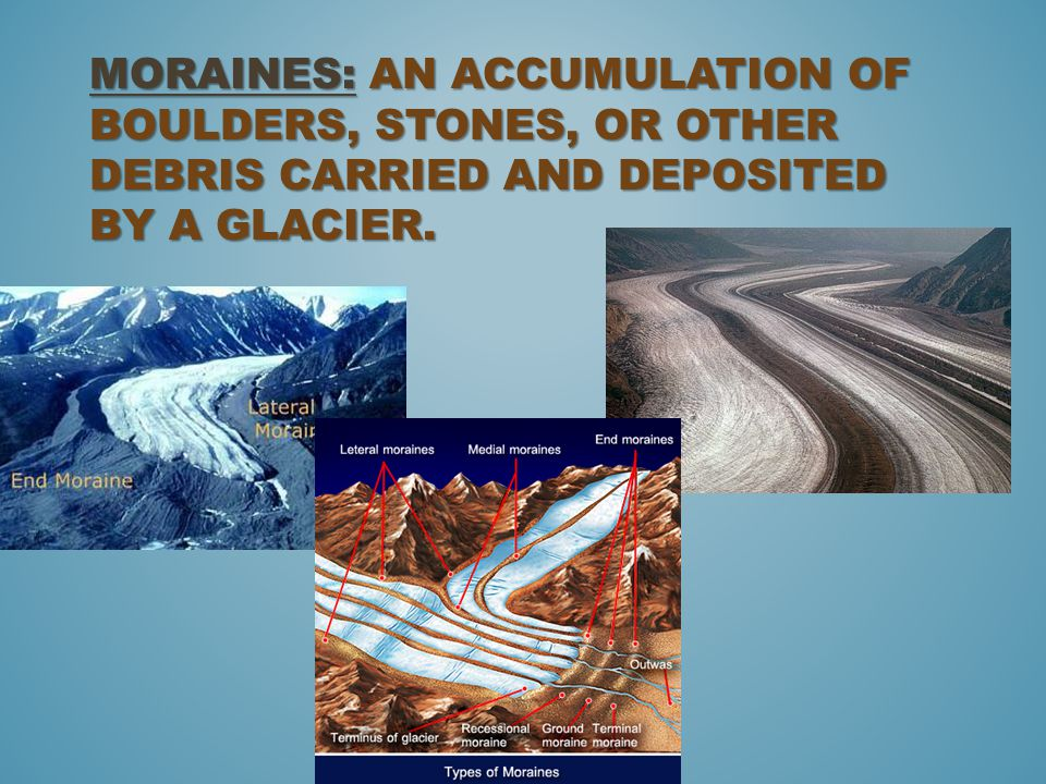 Moraines: An accumulation of boulders, stones, or other debris carried and deposited by a glacier.