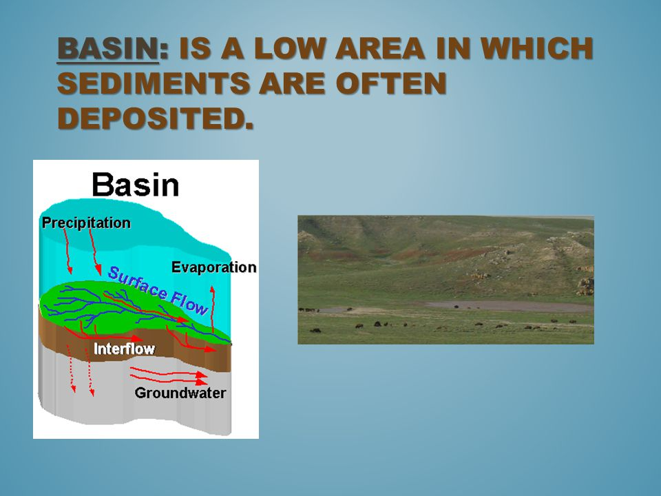 Basin: is a low area in which sediments are often deposited.