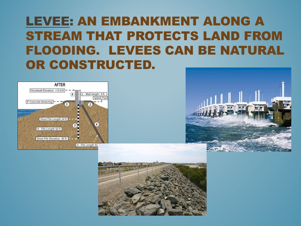 Levee: an embankment along a stream that protects land from flooding