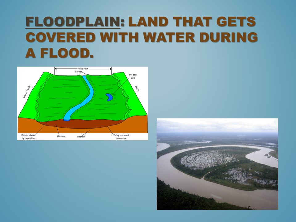 Floodplain: land that gets covered with water during a flood.