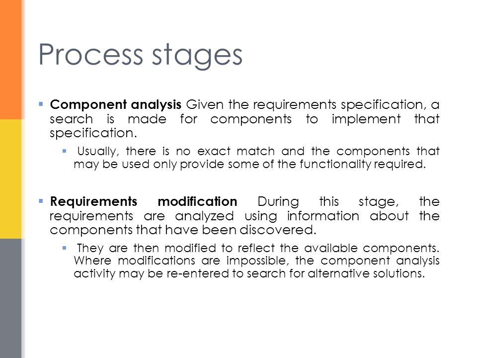 Process stages Component analysis Given the requirements specification, a search is made for components to implement that specification.