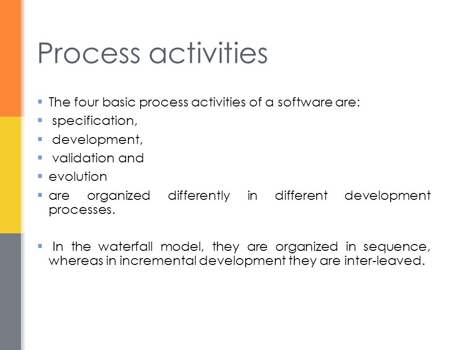 Process activities The four basic process activities of a software are: specification, development,