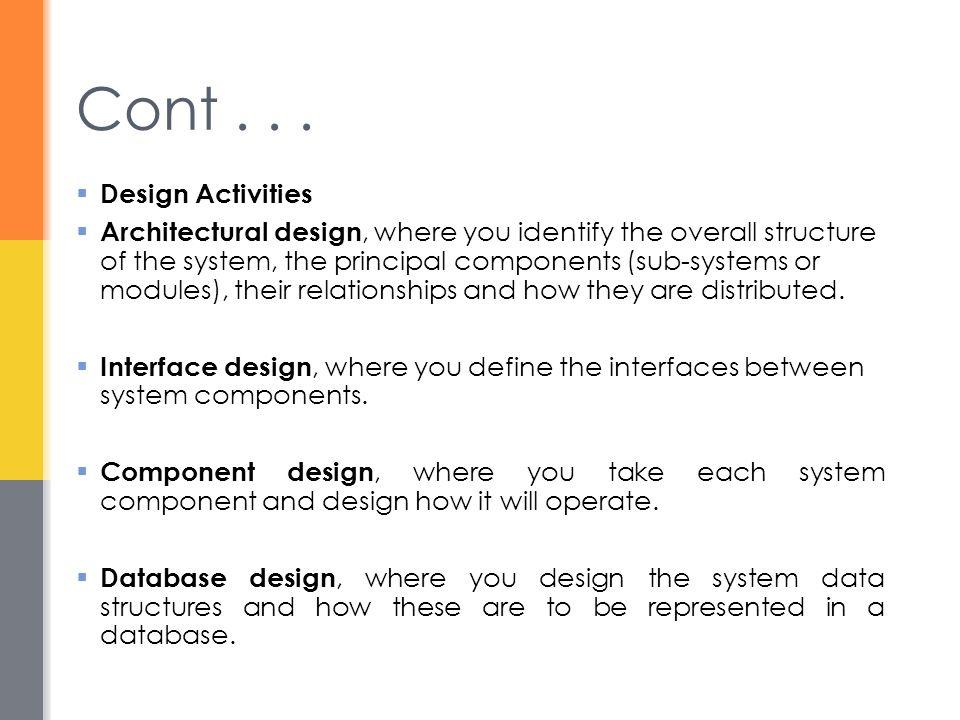 Cont . . . Design Activities