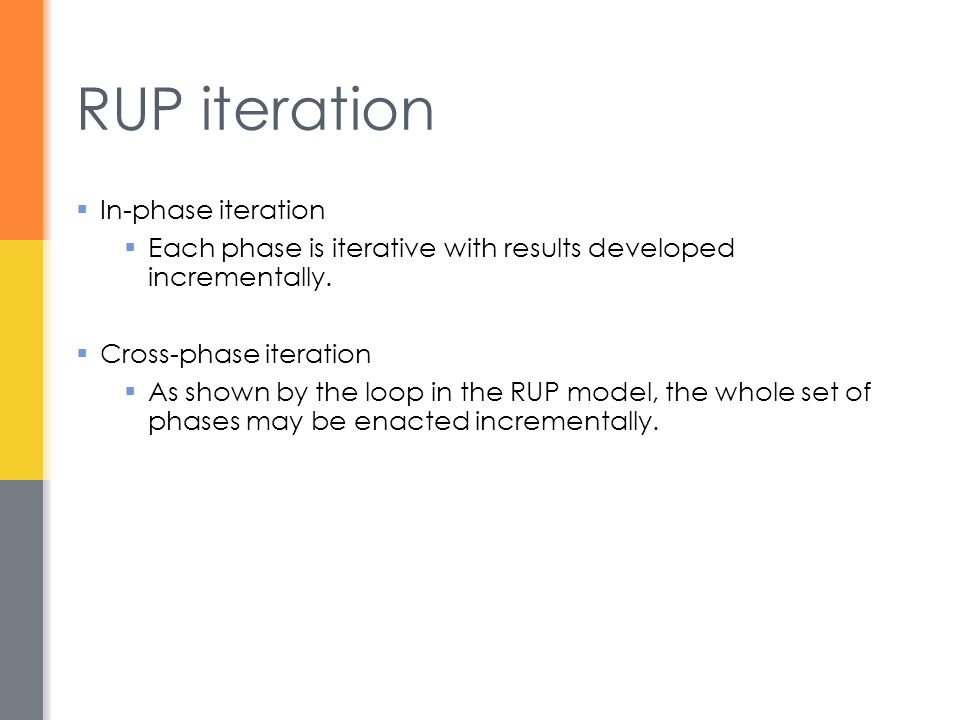 RUP iteration In-phase iteration