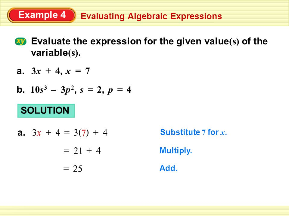 Evaluate the expression for the given value(s) of the variable(s).