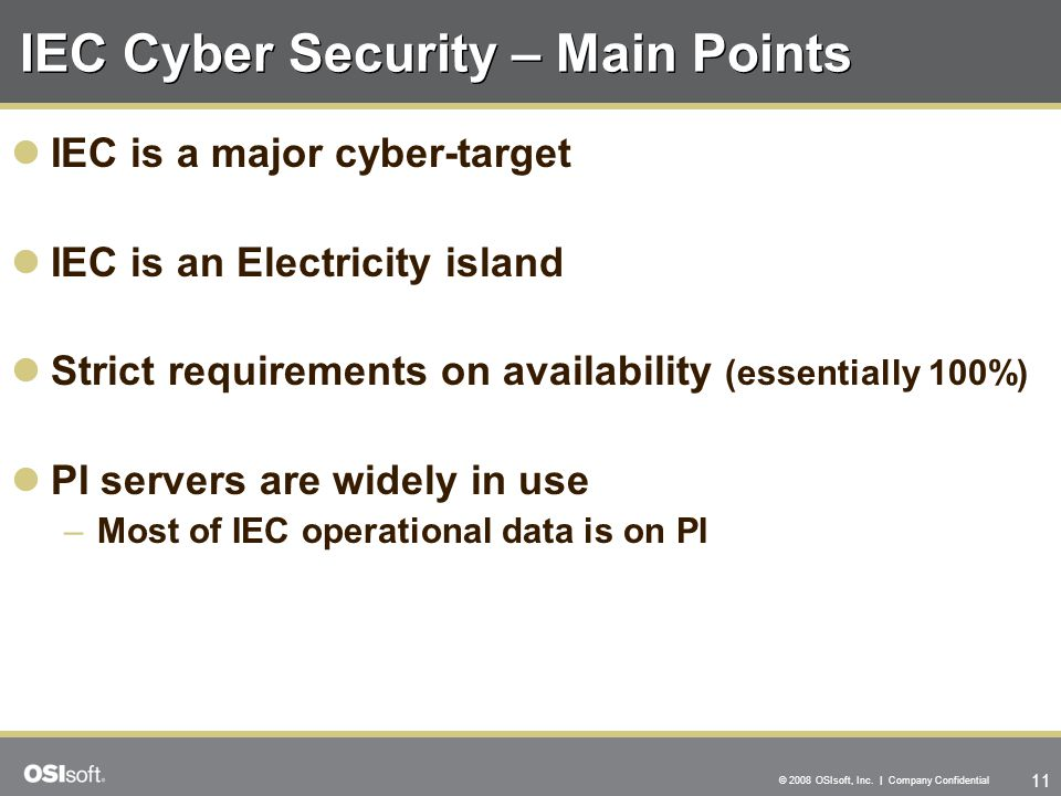 IEC Cyber Security – Main Points