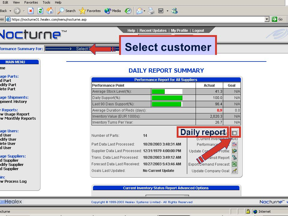 Select customer Daily report PMS 2003-11-24 intro Villa 30