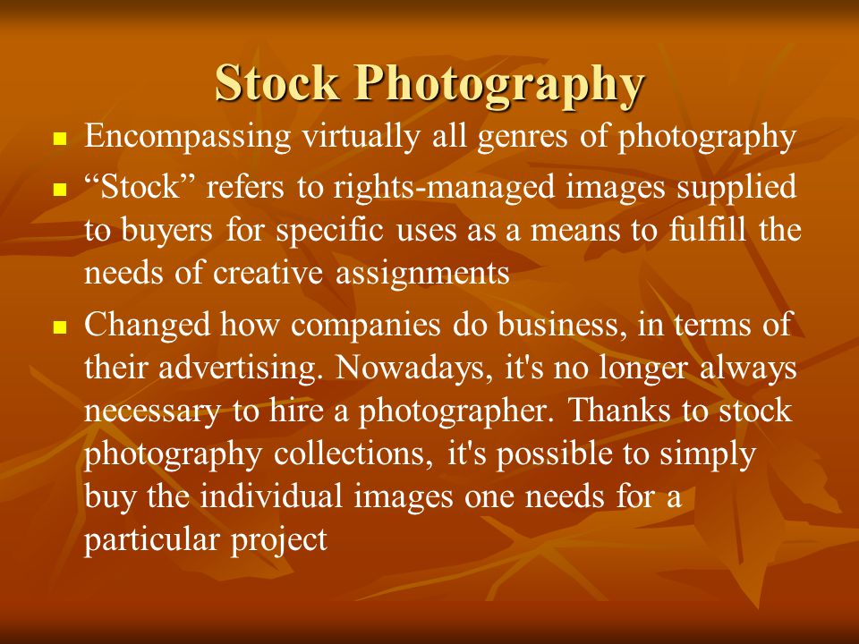 Stock Photography Encompassing virtually all genres of photography