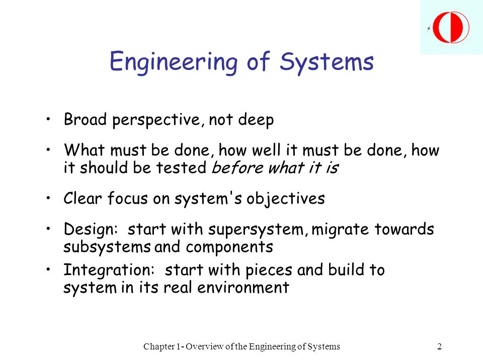 Engineering of Systems