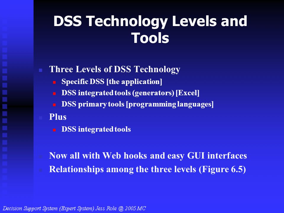 DSS Technology Levels and Tools