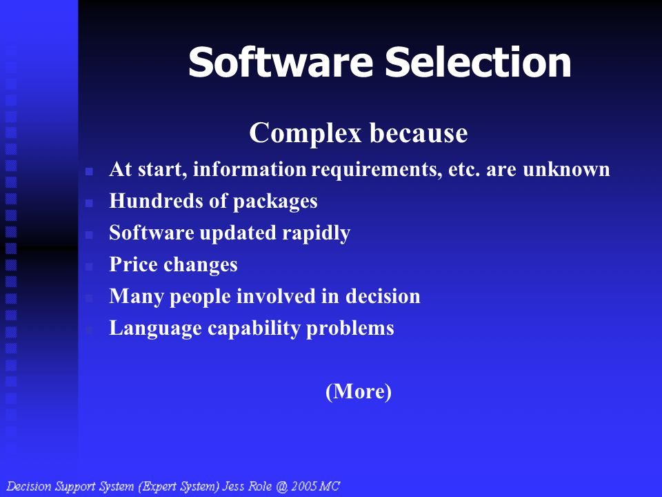Software Selection Complex because