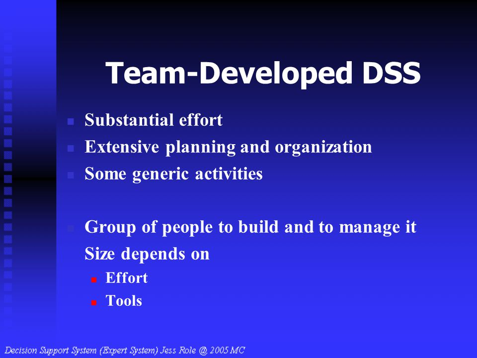 Team-Developed DSS Substantial effort