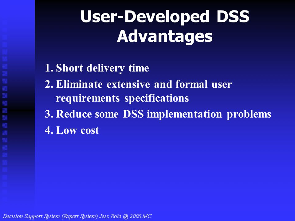 User-Developed DSS Advantages