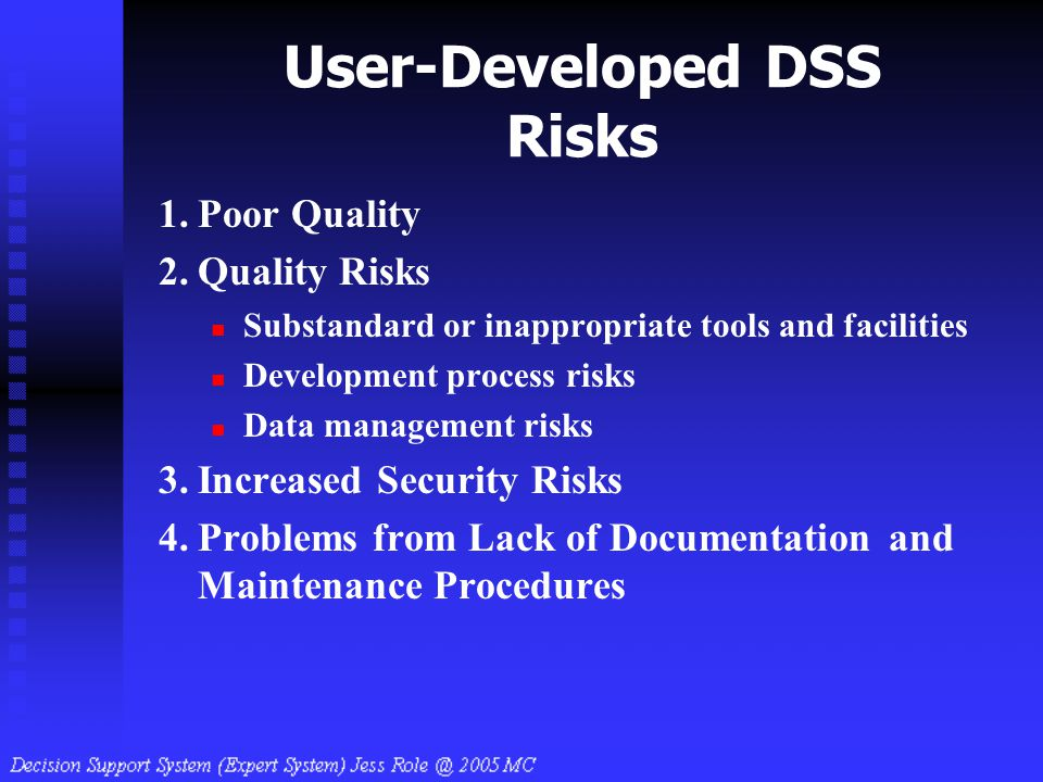 User-Developed DSS Risks