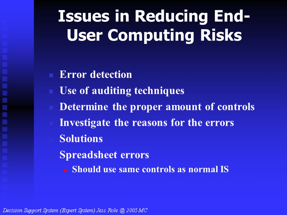 Issues in Reducing End-User Computing Risks