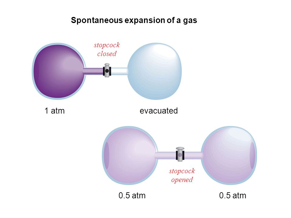 Spontaneous expansion of a gas