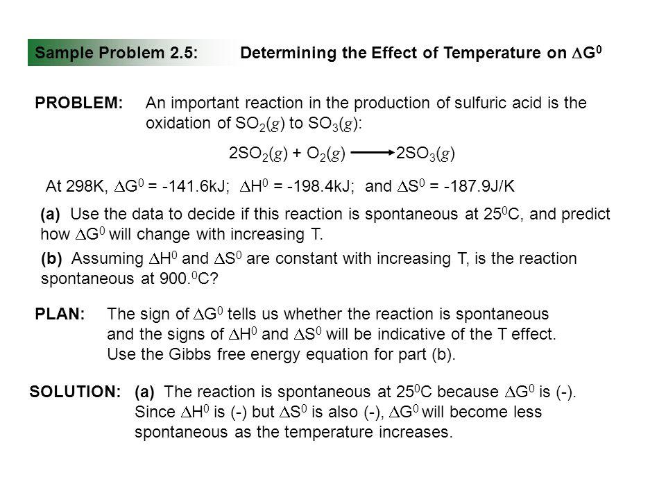 Sample Problem 2.5: Determining the Effect of Temperature on DG0. PROBLEM: