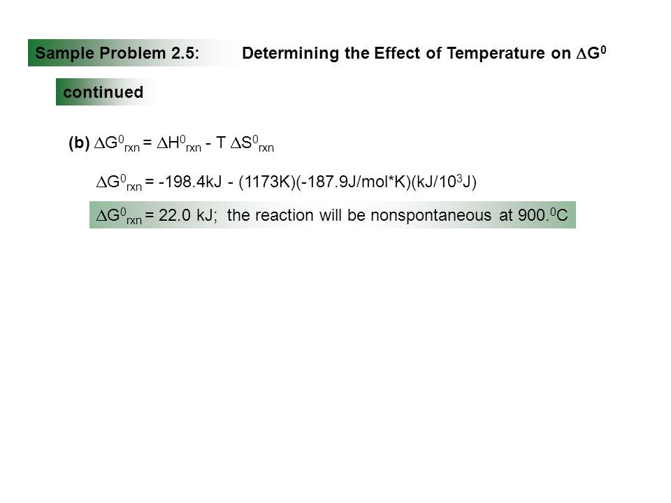Sample Problem 2.5: Determining the Effect of Temperature on DG0. continued. (b) DG0rxn = DH0rxn - T DS0rxn.
