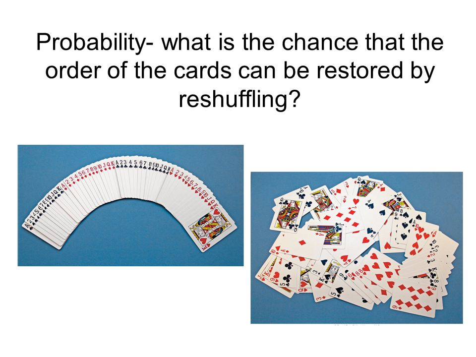 Probability- what is the chance that the order of the cards can be restored by reshuffling