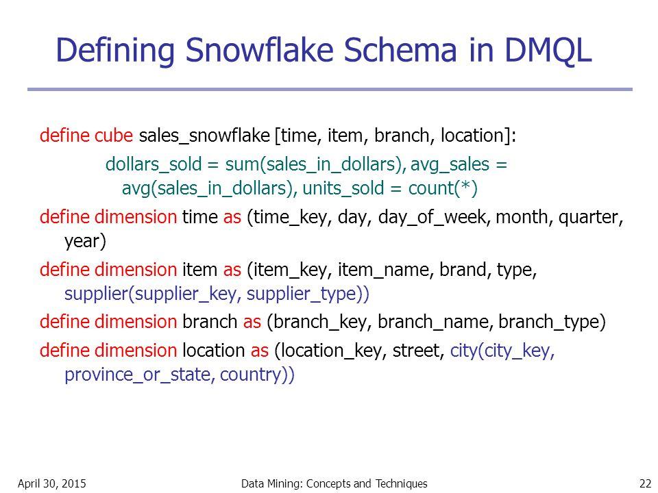 Defining Snowflake Schema in DMQL