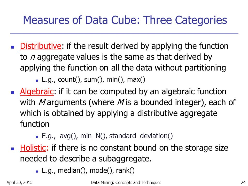 Measures of Data Cube: Three Categories