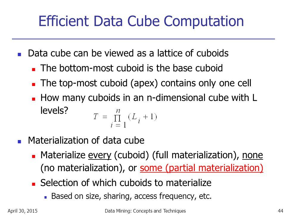 Efficient Data Cube Computation