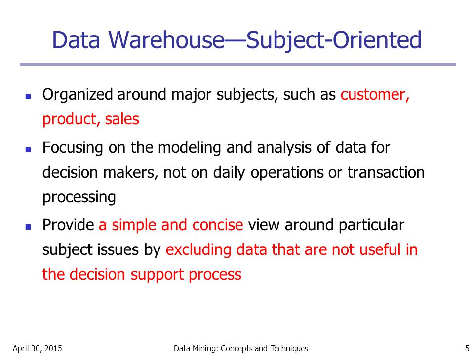 Data Warehouse—Subject-Oriented