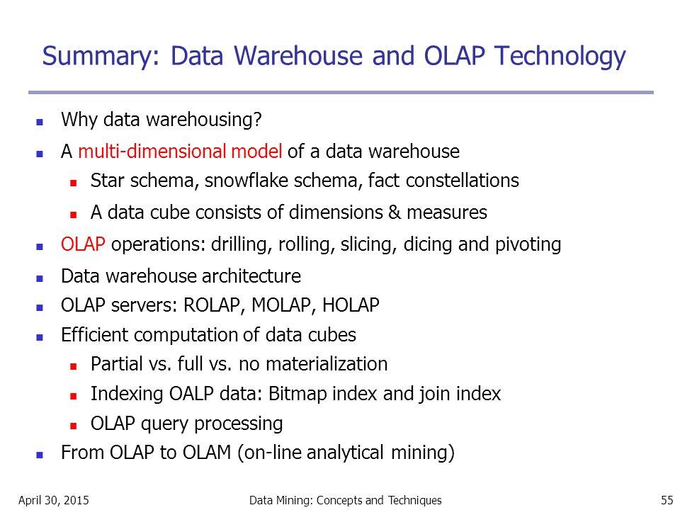 Summary: Data Warehouse and OLAP Technology
