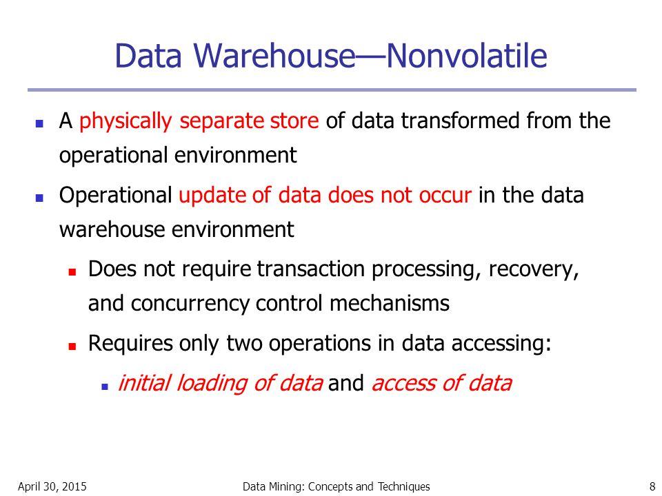 Data Warehouse—Nonvolatile