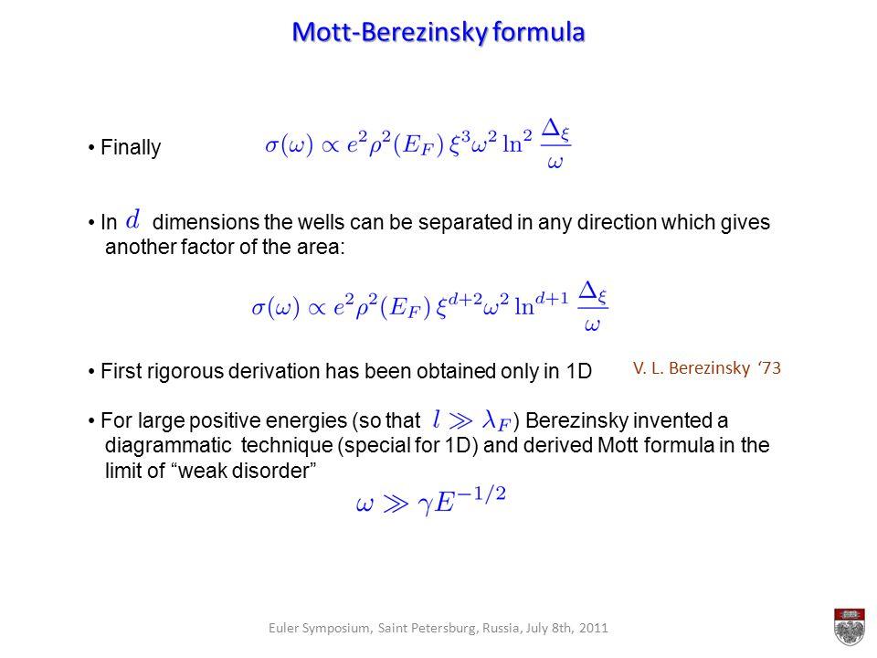 Mott-Berezinsky formula