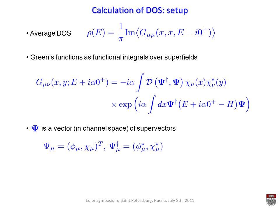Calculation of DOS: setup